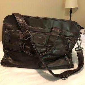 Tumi Brown Leather Weekender or Work Bag